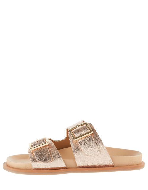 Metallic Buckle Sandals, Gold (ROSE GOLD), large