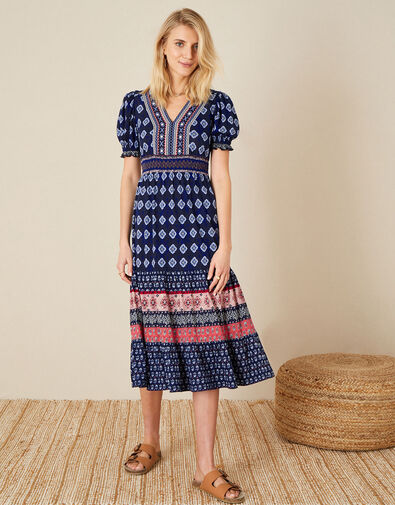 Fern Printed Jersey Dress Blue, Blue (NAVY), large