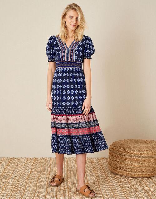 Fern Printed Jersey Dress, Blue (NAVY), large