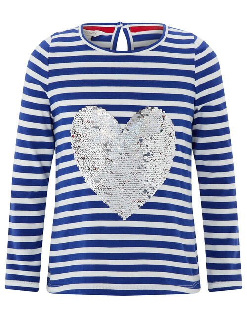 Sequin Heart Strawberry Striped T-Shirt, Blue (BLUE), large