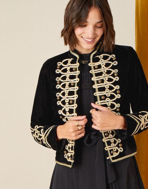 Embroidered Velvet Military Jacket, Black (BLACK), large