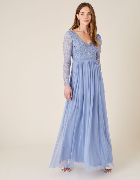 ARTISAN Leela Embroidered Maxi Dress  Blue, Blue (BLUE), large