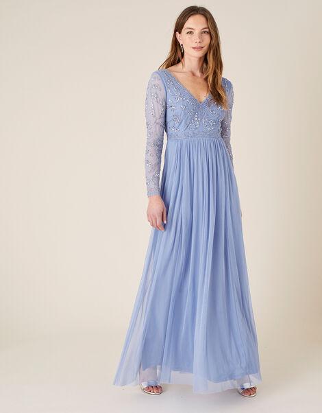 Leela Long-Sleeve Embroidered Maxi Dress  Blue, Blue (BLUE), large