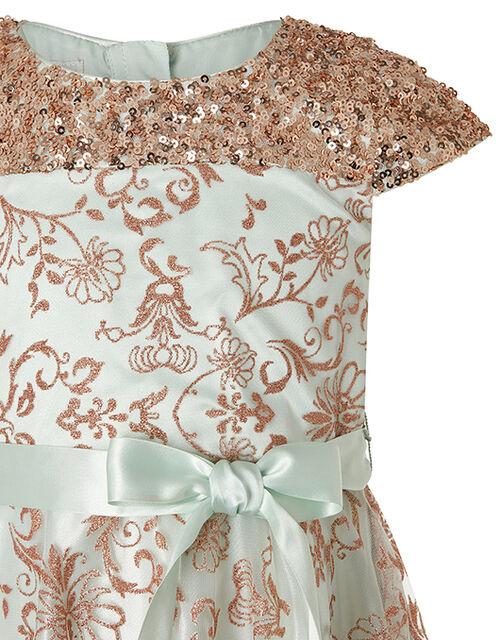 Riona Duck Egg Sparkle Dress, Teal (DUCK EGG), large