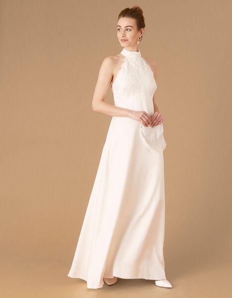 Flora Bridal Embellished Lace Halter Maxi Dress Ivory, Ivory (IVORY), large