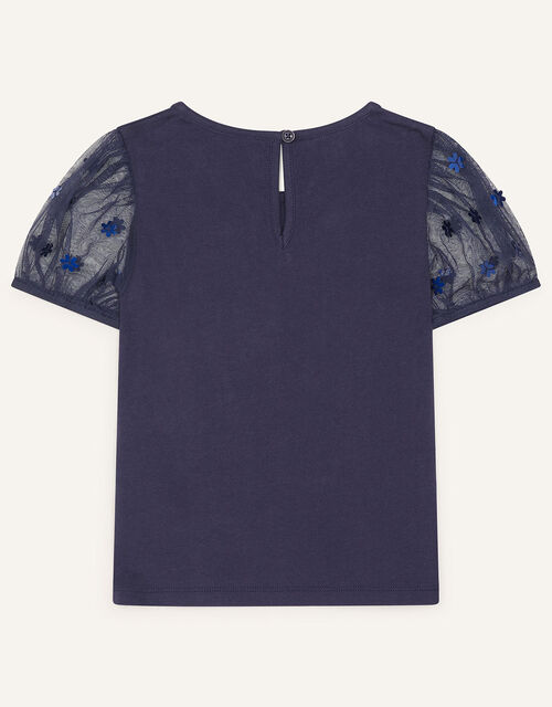 Daisy Puff Sleeve Top, Blue (NAVY), large