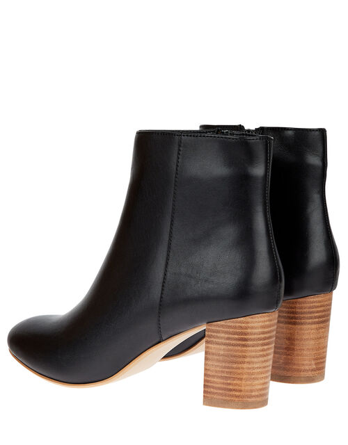 Stacked Heel Leather Ankle Boots, Black (BLACK), large