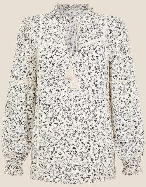 Floral Tie Neck Blouse, Cream (CREAM), large