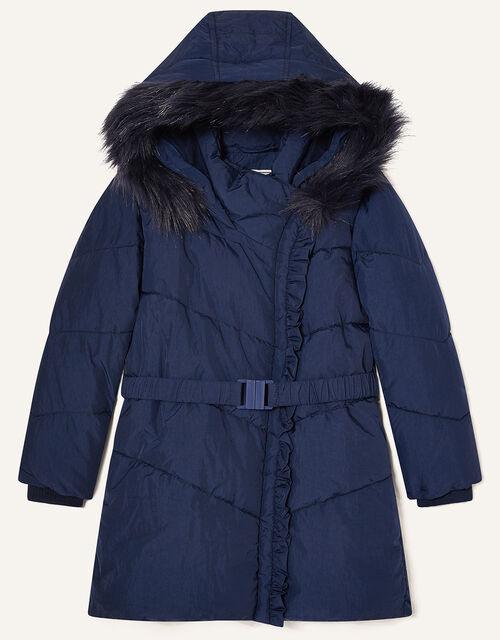 Ruffle Padded and Hooded Coat, Blue (NAVY), large