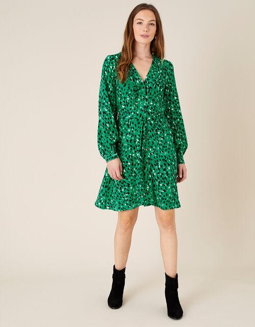 Tara Animal Print Short Dress , Green (GREEN), large