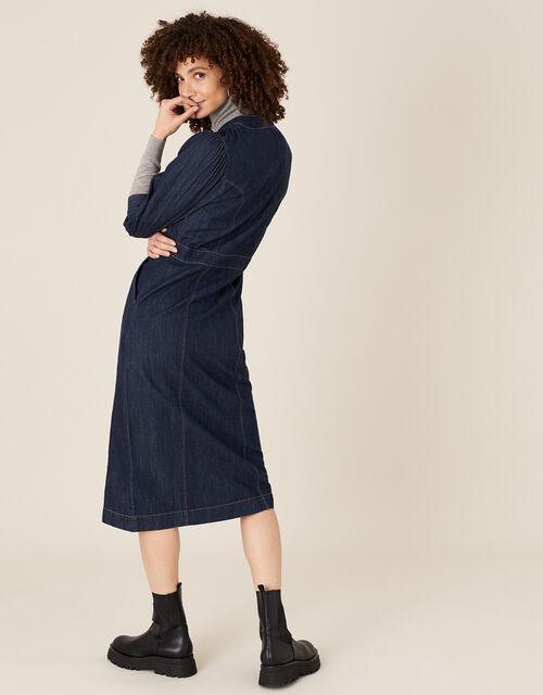 Denim Midi Dress in Organic Cotton , Blue (INDIGO), large