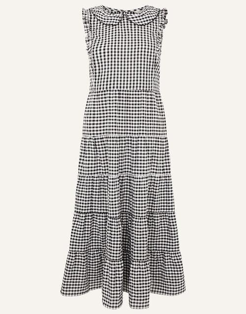 Collared Gingham Dress in Organic Cotton , Black (BLACK), large
