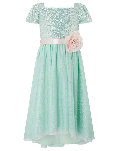Sara Sequin Dress with Corsage Belt Teal, Teal (DUCK EGG), large