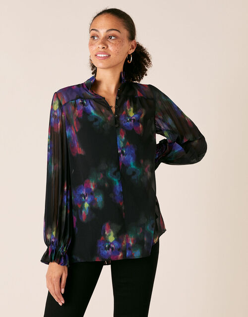 Blur Print Pleated Sleeve Blouse, Black (BLACK), large