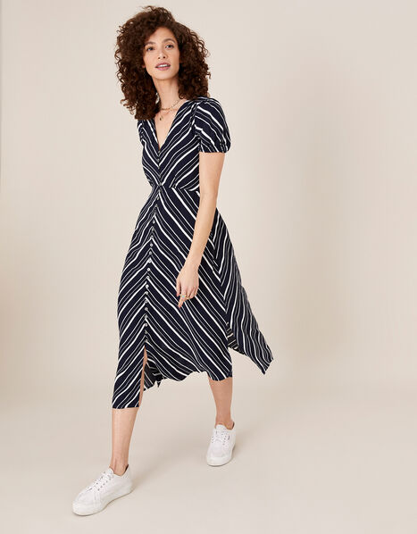 Stripe Midi Dress in Sustainable Viscose Blue, Blue (NAVY), large