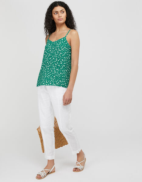 Poppy Floral Cami Top with Sustainable Viscose Green, Green (GREEN), large