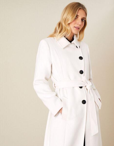 Willow Asymmetric Button Coat White, White (WHITE), large