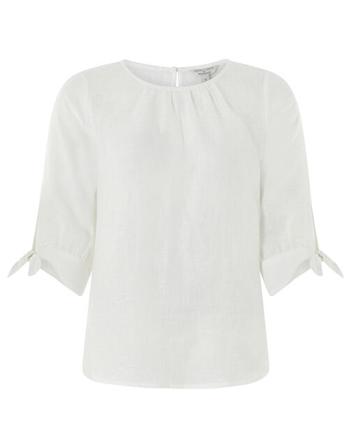 Ru Tie Cuff Blouse in Linen Gauze, White (WHITE), large