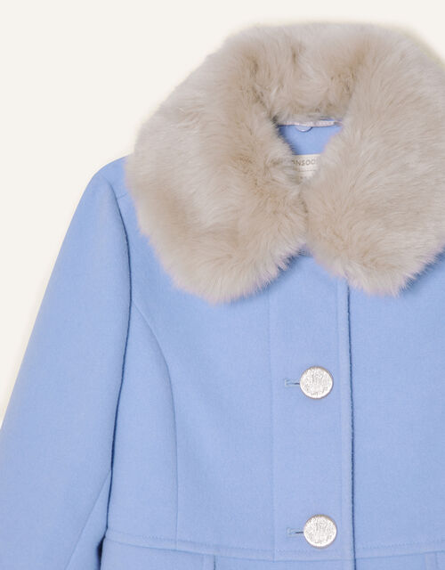 Ruffle Hem Fur Collar Coat , Blue (PALE BLUE), large