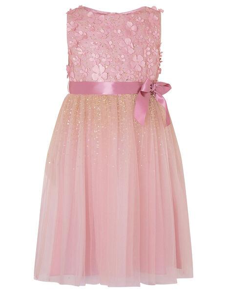 Alison Floral Glitter Dress Pink, Pink (DUSKY PINK), large