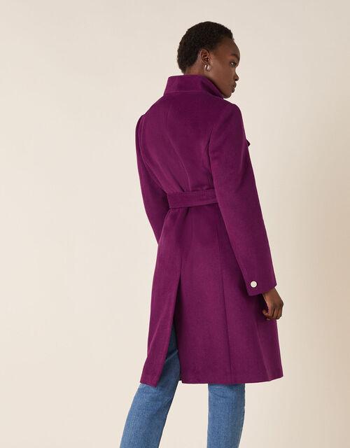Rita Wrap Collar Long Coat , Purple (PURPLE), large