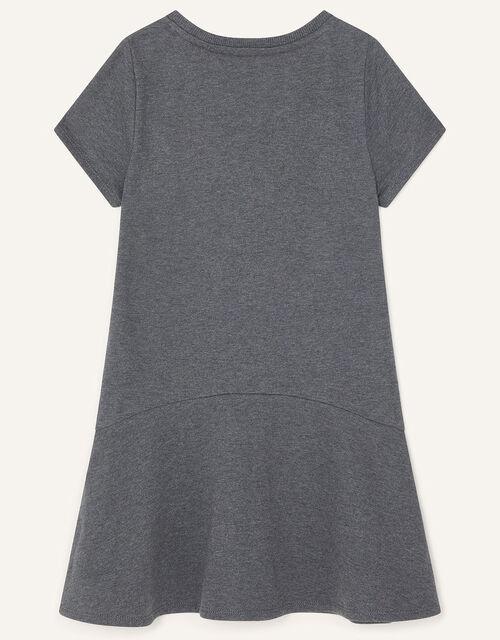 Embellished Star Sweat Dress, Grey (CHARCOAL), large