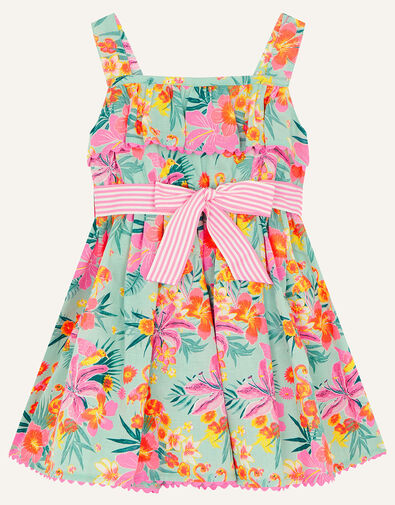 Baby Tropical Flamingo Dress Blue, Blue (AQUA), large