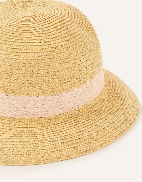 Colourblock Straw Bucket Hat , , large