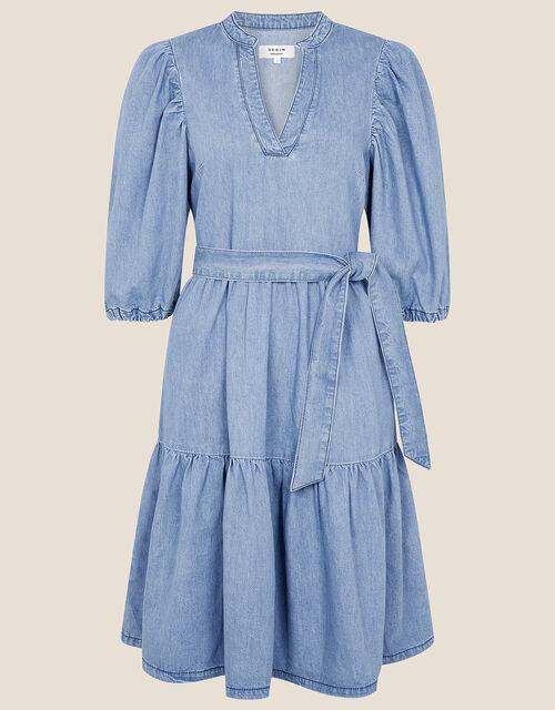 Puff Sleeve Belted Denim Dress, Blue (DENIM BLUE), large