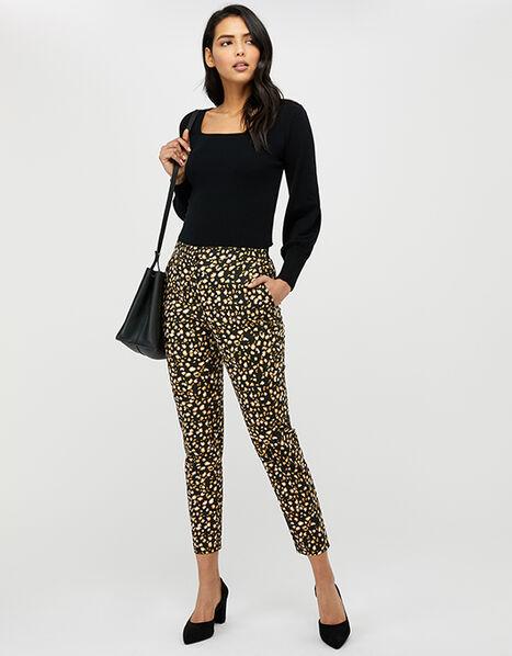 Camillia Animal Print Slim Trousers Black, Black (BLACK), large