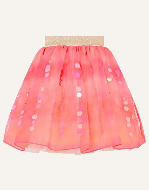 Sequin Tie Dye Skirt , Orange (CORAL), large
