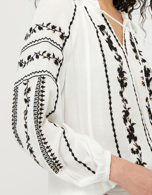 ASHOKA Sienna Embroidered Blouse in LENZING™ ECOVERO™, Ivory (IVORY), large