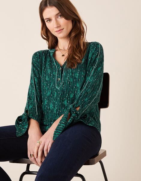 Lisa Printed Longline Shirt Green, Green (GREEN), large
