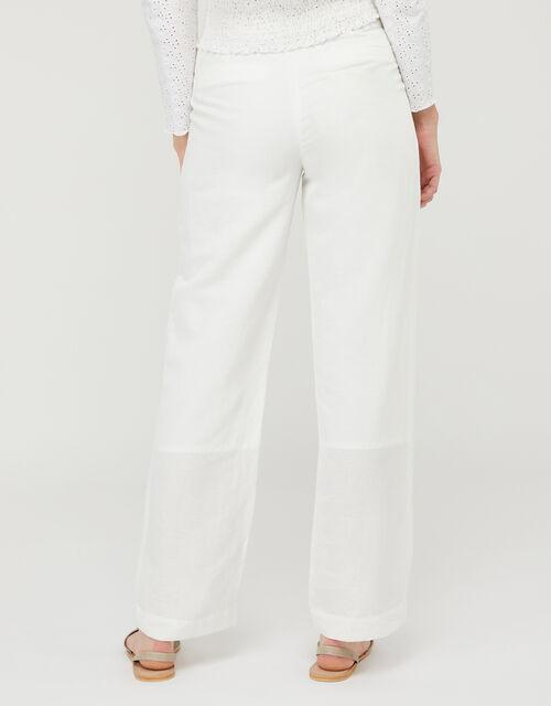 Charlotte Regular Length Trousers in Linen Blend, White (WHITE), large