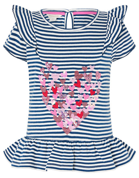 Stripe Heart Top in Organic Cotton  Blue, Blue (NAVY), large