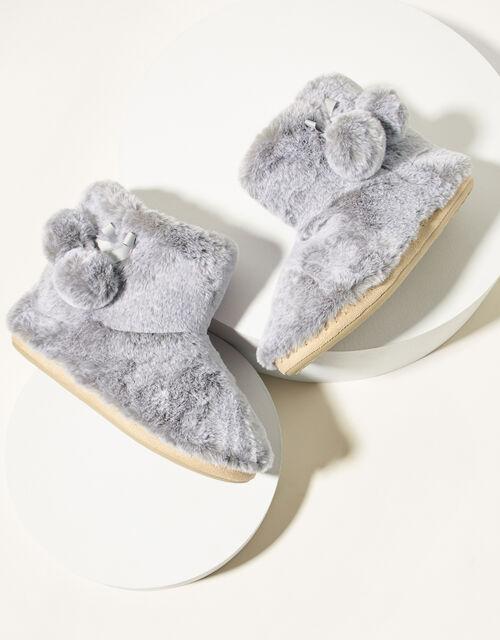 Faux Fur Slipper Boots, Grey (GREY), large