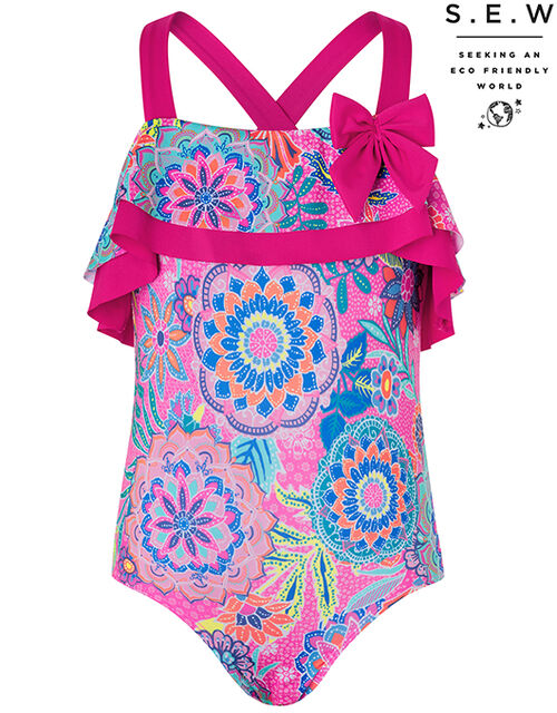 Inca Flower Print Frill Swimsuit with Recycled Polyester, Pink (PINK), large