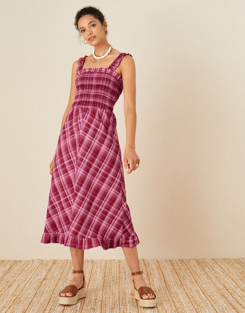 Clement Check Sundress, Red (RED), large