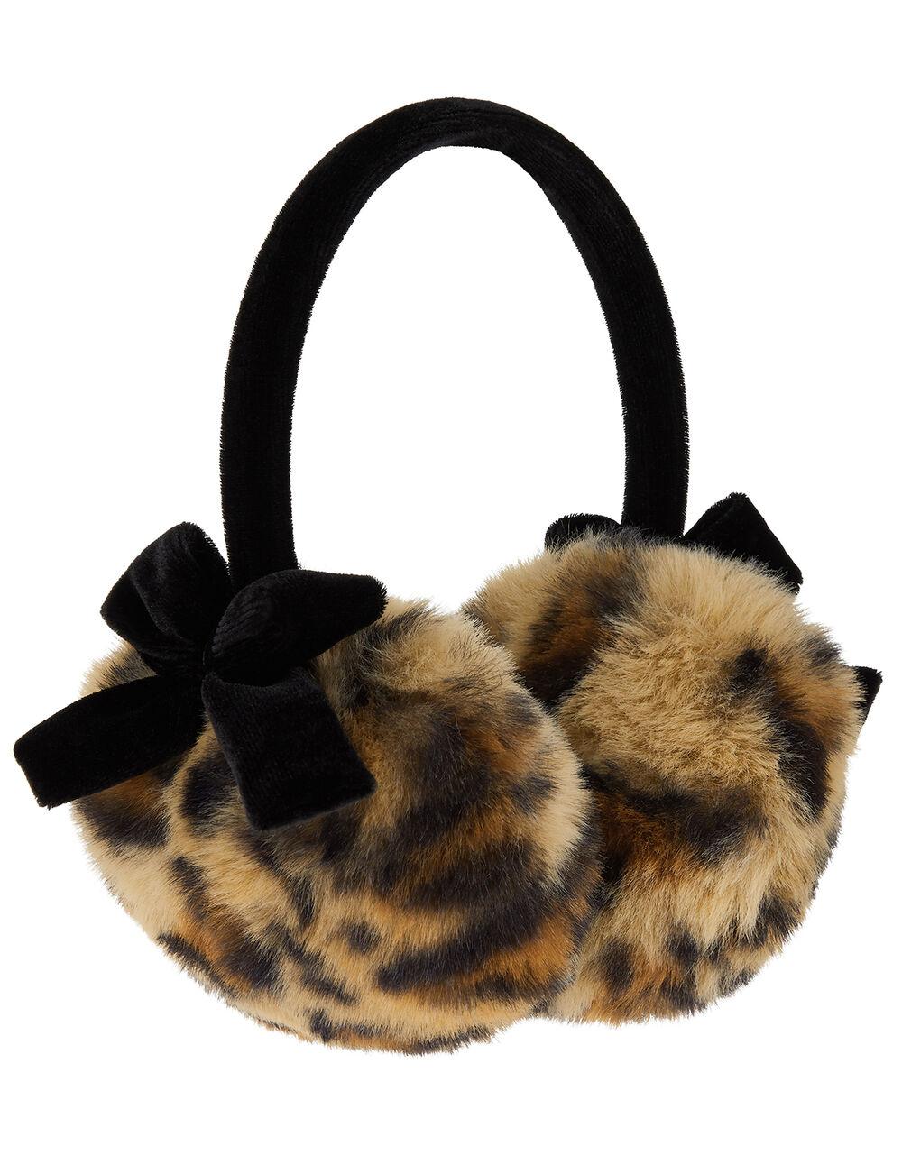 Leopard Print Velvet Bow Earmuffs, , large