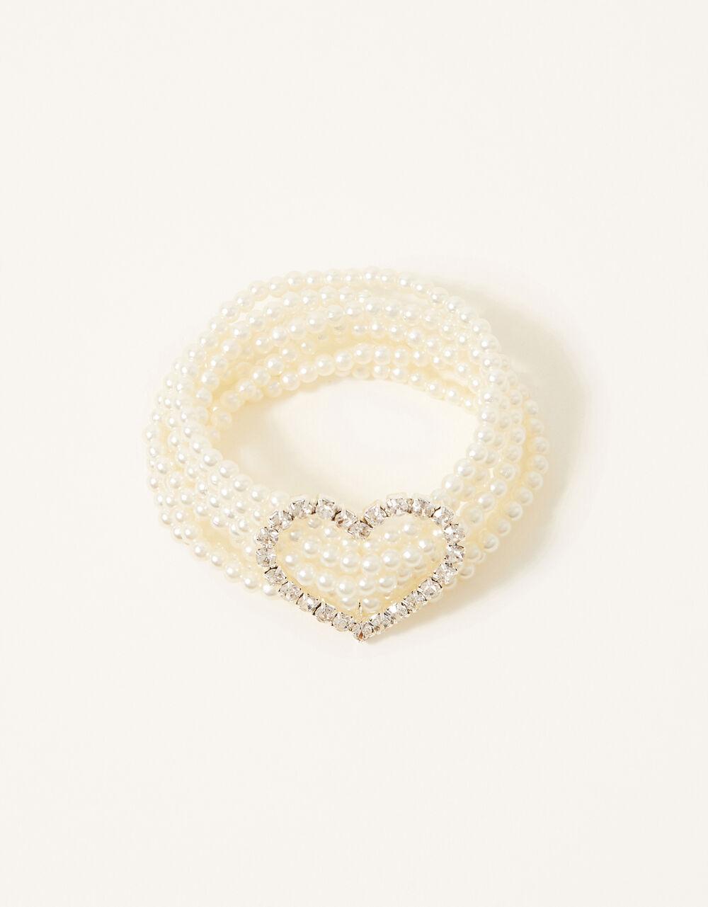Diamante Heart Pearly Bracelet, , large