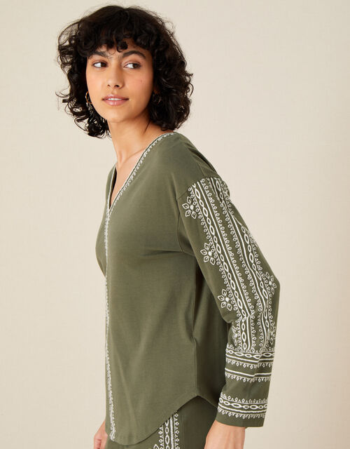 LOUNGE Embroidered Top, Green (KHAKI), large