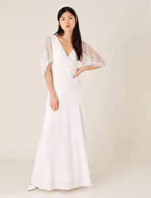 Linda lace angel sleeve bridal dress ivory