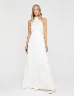 Flora bridal embellished lace halter maxi dress