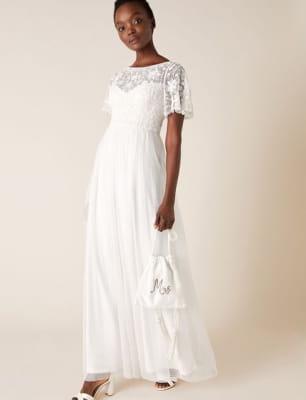 Shelly floral embellished bridal dress ivory