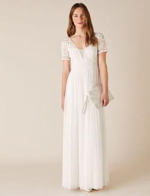 Beth beaded floral plunge bridal dress ivory