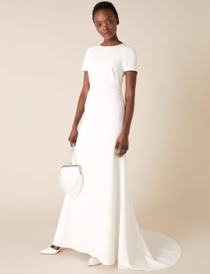 Shauna crepe and lace bridal dress ivory