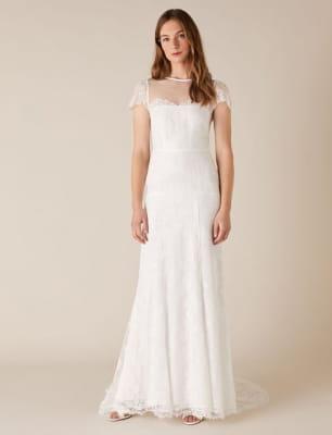 Rebecca chantilly lace bridal dress ivory