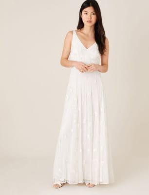 Kate floral embroidered bridal dress ivory