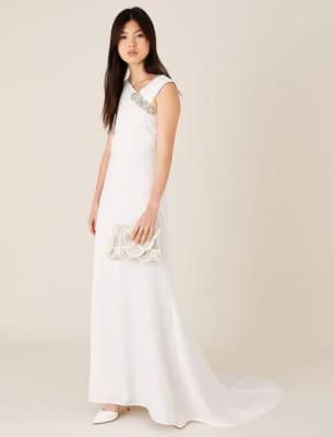 Tess brooch bridal maxi dress ivory