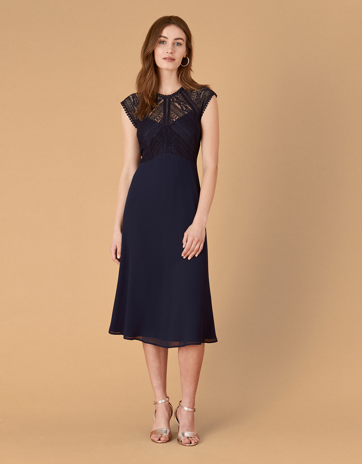 Monsoon Lolita Lace Midi Dress Blue